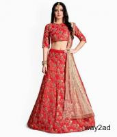 Grab Attractive Offers On Red Lehengas Visit Mirraw