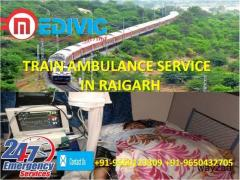 Book with Genuine Cost Train Ambulance Service in Raigarh by Medivic