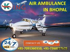 Get Skilled Evacuation Care Charter Air Ambulance Service in Bhopal by King