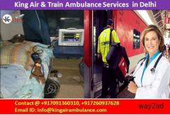 ICU Support Air and Train Ambulance from Patna to Delhi-King Air