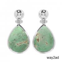 Genuine Sterling Silver Variscite Earrings For Women.