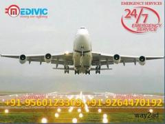 Hire ICU Support Air Ambulance from Guwahati to Delhi by Medivic Aviation
