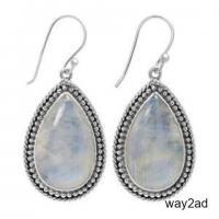 Genuine Wholesale Sterling Silver Moonstone Earrings For Women
