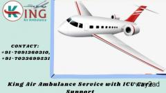 Hi-Tech Air Ambulance Service in Dibrugarh with Reliable Amenities by King